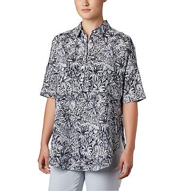 Women's PFG Sun Drifter™ 3/4 Sleeve Tunic Sun Drifter™ 3/4 Sleeve Tunic | 468 | L, Collegiate Navy Wilderness Print, front