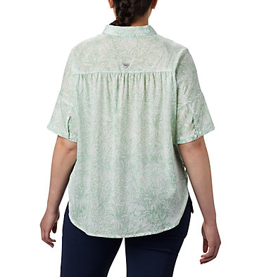 Women's PFG Sun Drifter™ 3/4 Sleeve Tunic – Plus Size Sun Drifter™ 3/4 Sleeve Tunic | 468 | 1X, New Mint Wilderness Print, back