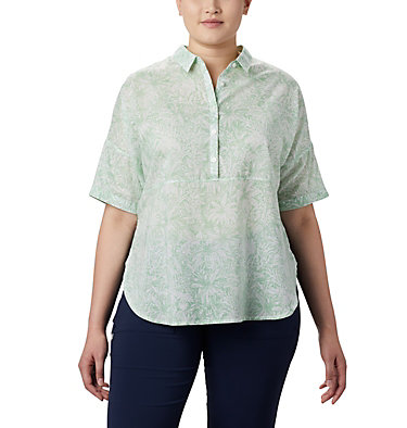 Women's PFG Sun Drifter™ 3/4 Sleeve Tunic – Plus Size Sun Drifter™ 3/4 Sleeve Tunic | 468 | 1X, New Mint Wilderness Print, front