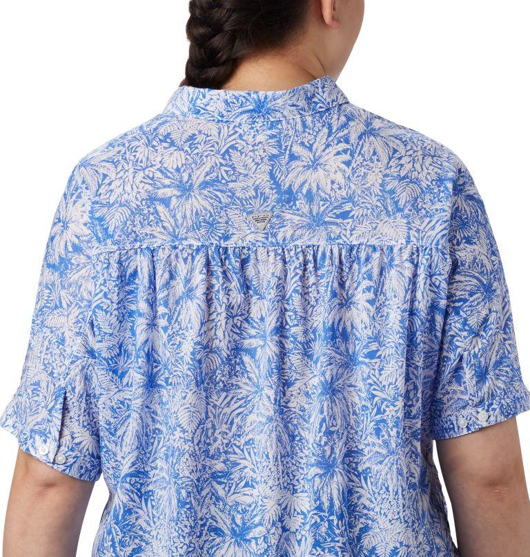 Sun Drifter™ 3/4 Sleeve Tunic | 427 | 2X Women's PFG Sun Drifter™ 3/4 Sleeve Tunic – Plus Size, Stormy Blue Wilderness Print, a3