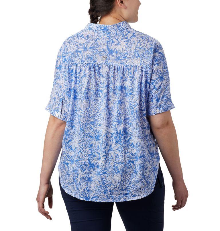 Sun Drifter™ 3/4 Sleeve Tunic | 427 | 2X Women's PFG Sun Drifter™ 3/4 Sleeve Tunic – Plus Size, Stormy Blue Wilderness Print, back