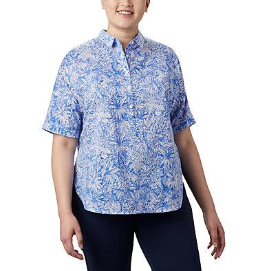 Tunique à manches 3/4 PFG Sun Drifter™ pour femme – Grandes tailles Sun Drifter™ 3/4 Sleeve Tunic | 468 | 1X, Stormy Blue Wilderness Print, front