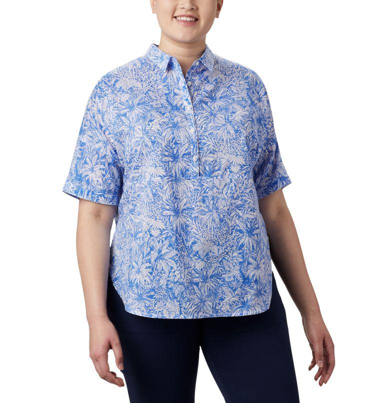 Sun Drifter™ 3/4 Sleeve Tunic | 427 | 2X Women's PFG Sun Drifter™ 3/4 Sleeve Tunic – Plus Size, Stormy Blue Wilderness Print, front