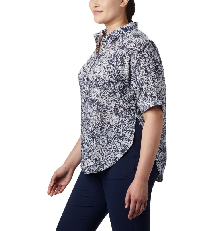 Sun Drifter™ 3/4 Sleeve Tunic | 468 | 2X Women's PFG Sun Drifter™ 3/4 Sleeve Tunic – Plus Size, Collegiate Navy Wilderness Print, a1