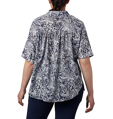 Women's PFG Sun Drifter™ 3/4 Sleeve Tunic – Plus Size Sun Drifter™ 3/4 Sleeve Tunic | 468 | 1X, Collegiate Navy Wilderness Print, back