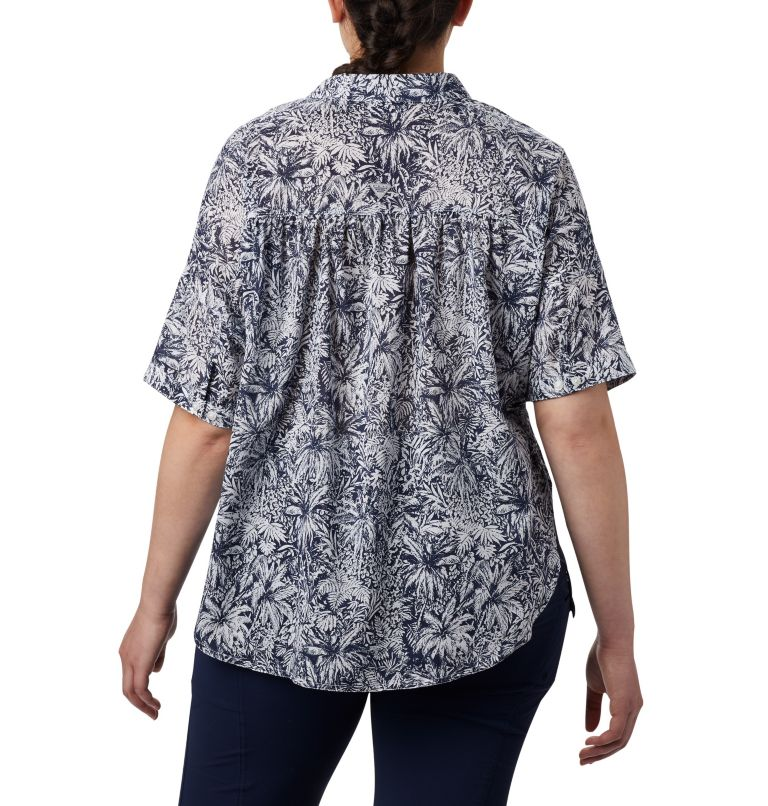 Sun Drifter™ 3/4 Sleeve Tunic | 468 | 2X Women's PFG Sun Drifter™ 3/4 Sleeve Tunic – Plus Size, Collegiate Navy Wilderness Print, back