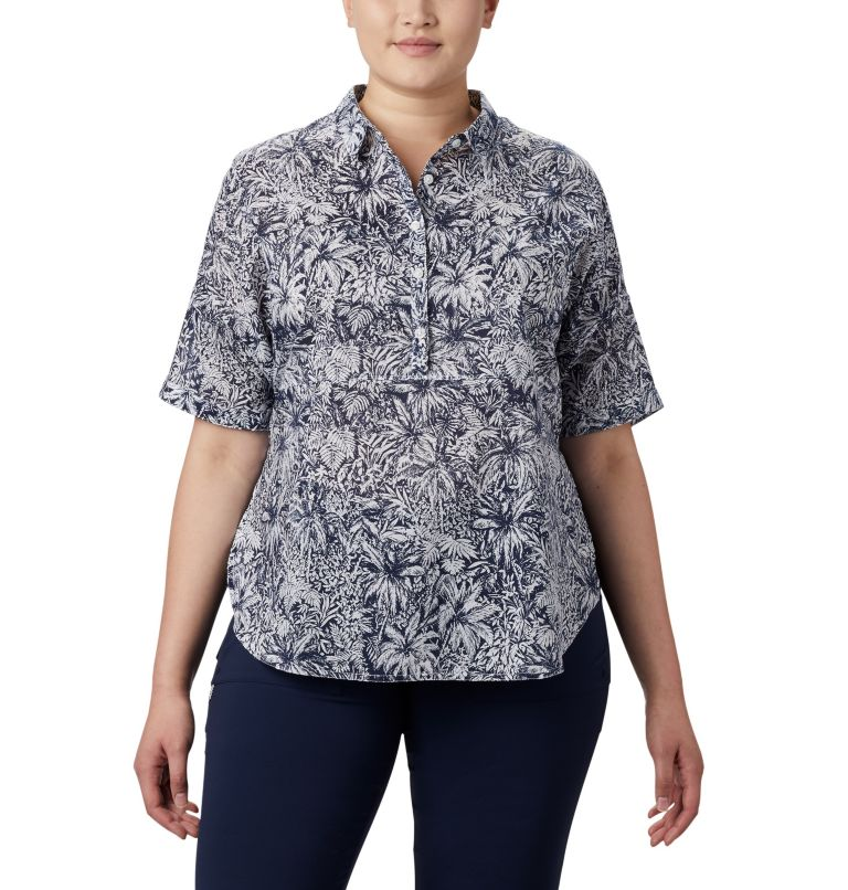 Sun Drifter™ 3/4 Sleeve Tunic | 468 | 2X Women's PFG Sun Drifter™ 3/4 Sleeve Tunic – Plus Size, Collegiate Navy Wilderness Print, front