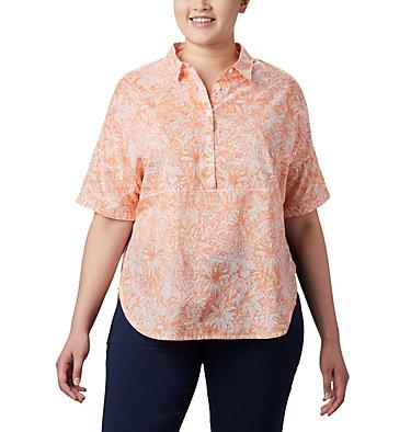 Tunique à manches 3/4 PFG Sun Drifter™ pour femme – Grandes tailles Sun Drifter™ 3/4 Sleeve Tunic | 468 | 1X, Tiki Pink Wilderness Print, front
