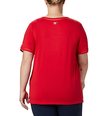 Women's PFG Slack Water™ Knit Pocket Tee – Plus Size Slack Water™ Knit Pocket Tee | 426 | 1X, Red Lily, back