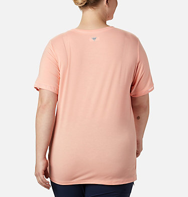 Women's PFG Slack Water™ Knit Pocket Tee – Plus Size Slack Water™ Knit Pocket Tee | 426 | 1X, Tiki Pink, back