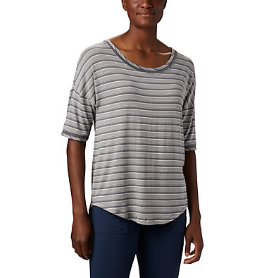 Haut à manches 3/4 en tricot PFG Slack Water™ pour femme Slack Water™ Knit 3/4 Sleeve | 465 | L, City Grey Stripe, front