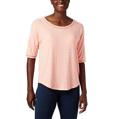 Women's Water™ Knit 3/4 Sleeve Slack Water™ Knit 3/4 Sleeve | 465 | L, Tiki Pink Stripe, front