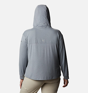 Women's PFG Slack Water™ Knit Hoodie - Plus Size Slack Water™ Knit Hoodie | 463 | 1X, Tradewinds Grey Heather, back