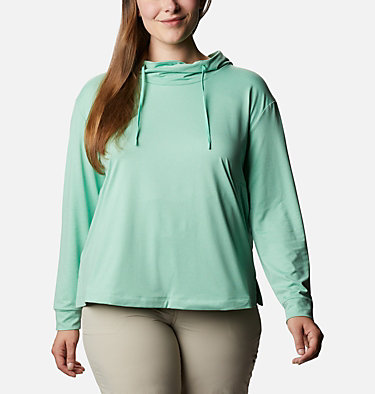 Women's PFG Slack Water™ Knit Hoodie - Plus Size Slack Water™ Knit Hoodie | 463 | 1X, Kelp Heather, front