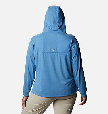 Women's PFG Slack Water™ Knit Hoodie - Plus Size Slack Water™ Knit Hoodie | 463 | 1X, Azure Blue Heather, back