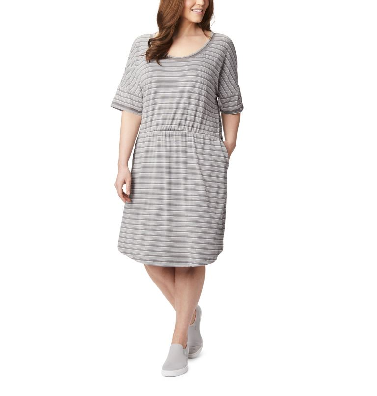 Slack Water™ Knit Dress | 024 | 1X Women's PFG Slack Water™ Knit Dress – Plus Size, City Grey Stripe, front