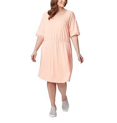 Women's PFG Slack Water™ Knit Dress – Plus Size Slack Water™ Knit Dress | 010 | 1X, Tiki Pink Stripe, front