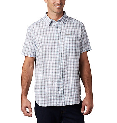 Men's Brentyn Trail™ Short Sleeve Seersucker Shirt – Big Brentyn Trail™ SS Seersucker Shirt | 427 | 1X, Sky Blue Gingham, front