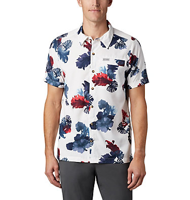 Men's Outdoor Elements™ Short Sleeve Print Shirt Outdoor Elements™ SS Print Shirt | 428 | L, White Tropical, front