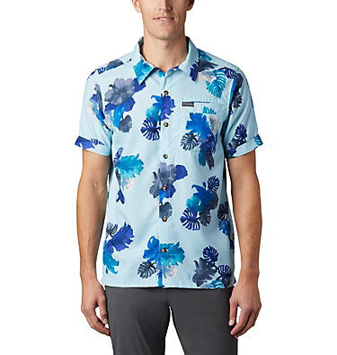 Men's Outdoor Elements™ Short Sleeve Print Shirt Outdoor Elements™ SS Print Shirt | 428 | L, Sky Blue Tropical, front