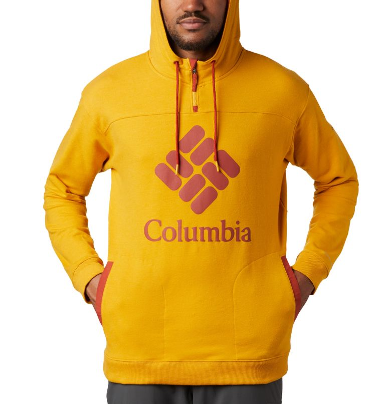 Columbia Lodge™ French Terry Hoodie | 790 | XL Men's Columbia Lodge™ French Terry Hoodie, Bright Gold Heather, Carnelian Red, a2