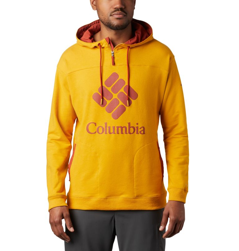 Columbia Lodge™ French Terry Hoodie | 790 | XL Men's Columbia Lodge™ French Terry Hoodie, Bright Gold Heather, Carnelian Red, front