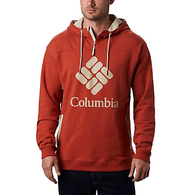 Men's Columbia Lodge™ French Terry Hoodie Columbia Lodge™ French Terry Hoodie | 011 | S, Carnelian Red, Fossil, front