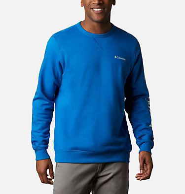 Men's Columbia™ Logo Fleece Crew M Columbia™ Logo Fleece Crew | 432 | L, Bright Indigo, White, front