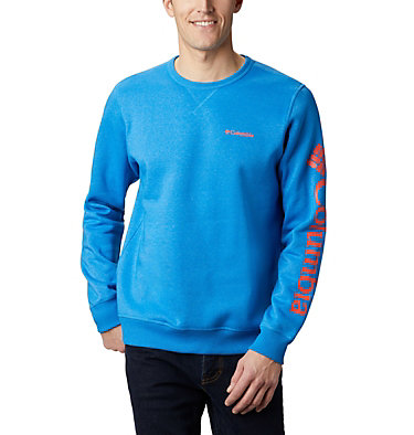 Men's Columbia™ Logo Fleece Crew M Columbia™ Logo Fleece Crew | 011 | S, Azure Blue Heather, Wildfire, front