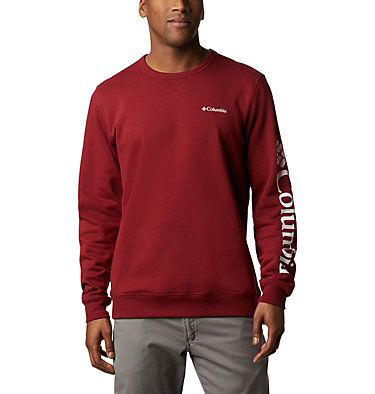 Men's Columbia™ Logo Fleece Crew - Tall M Columbia™ Logo Fleece Crew | 666 | 2XT, Red Jasper, White, front