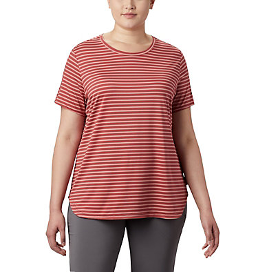 T-shirt à manches courtes Firwood Camp™ II pour femme – Grandes tailles Firwood Camp™ II SS Tee | 101 | 1X, Dusty Crimson Medium Stripe, front