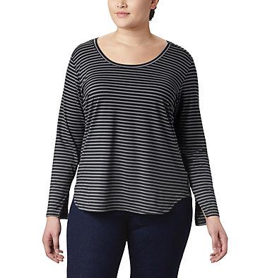 Women's Firwood Camp™ Long Sleeve Shirt – Plus Size Firwood Camp™ LS Tee | 100 | 1X, Black Medium Stripe, front