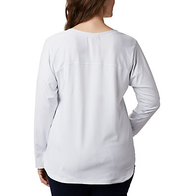 Women's Firwood Camp™ Long Sleeve Shirt – Plus Size Firwood Camp™ LS Tee | 100 | 1X, White Small Stripe, back