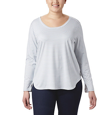Women's Firwood Camp™ Long Sleeve Shirt – Plus Size Firwood Camp™ LS Tee | 100 | 1X, White Medium Stripe, front