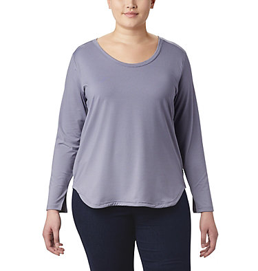 Women's Firwood Camp™ Long Sleeve Shirt – Plus Size Firwood Camp™ LS Tee | 556 | 1X, New Moon Small Stripe, front