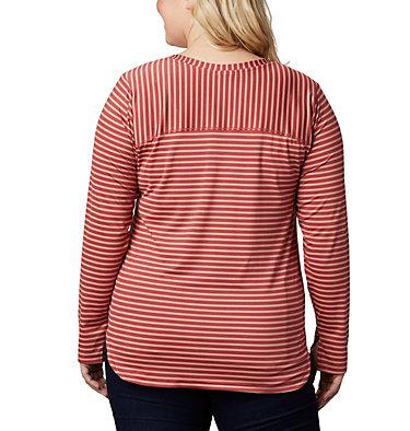 Women's Firwood Camp™ Long Sleeve Shirt – Plus Size Firwood Camp™ LS Tee | 100 | 1X, Dusty Crimson Medium Stripe, back