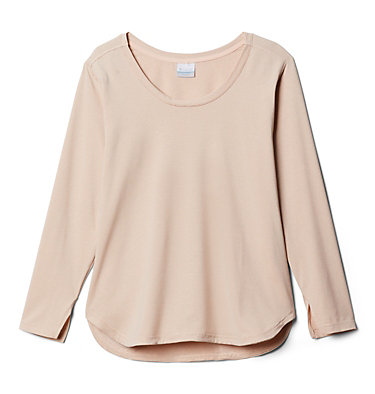 Women's Firwood Camp™ Long Sleeve Shirt – Plus Size Firwood Camp™ LS Tee | 100 | 1X, Peach Cloud Small Stripe, front