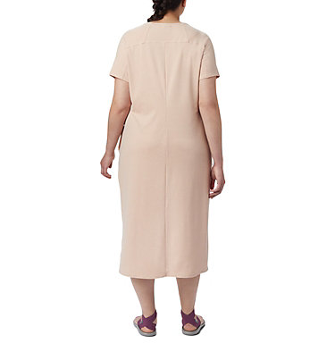 Women's Firwood Camp™ Tee Dress – Plus Size Firwood Camp™ Tee Dress | 870 | 1X, Peach Cloud Small Stripe, back