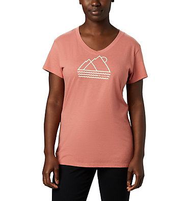 Women's Solar Shield™ Graphic Tee Solar Shield™ Graphic Tee | 466 | L, Dark Coral, Linear Waves, front