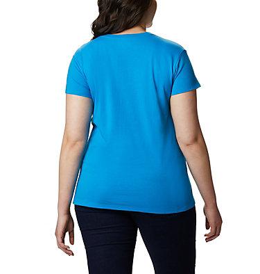 Women's Solar Shield™ Graphic Tee – Plus Size Solar Shield™ Graphic Tee | 729 | 1X, Static Blue, Linear Waves, back