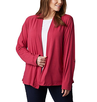 Women's Essential Elements™ Cardigan – Plus Size Essential Elements™ Cardigan | 100 | 2X, Red Orchid, front