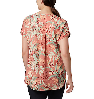 Women's Camp Henry™ Relaxed Shirt Camp Henry™ Relaxed Shirt   556   S, Dark Coral Floral Print, back