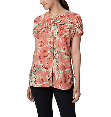 Women's Camp Henry™ Relaxed Shirt Camp Henry™ Relaxed Shirt   556   S, Dark Coral Floral Print, front