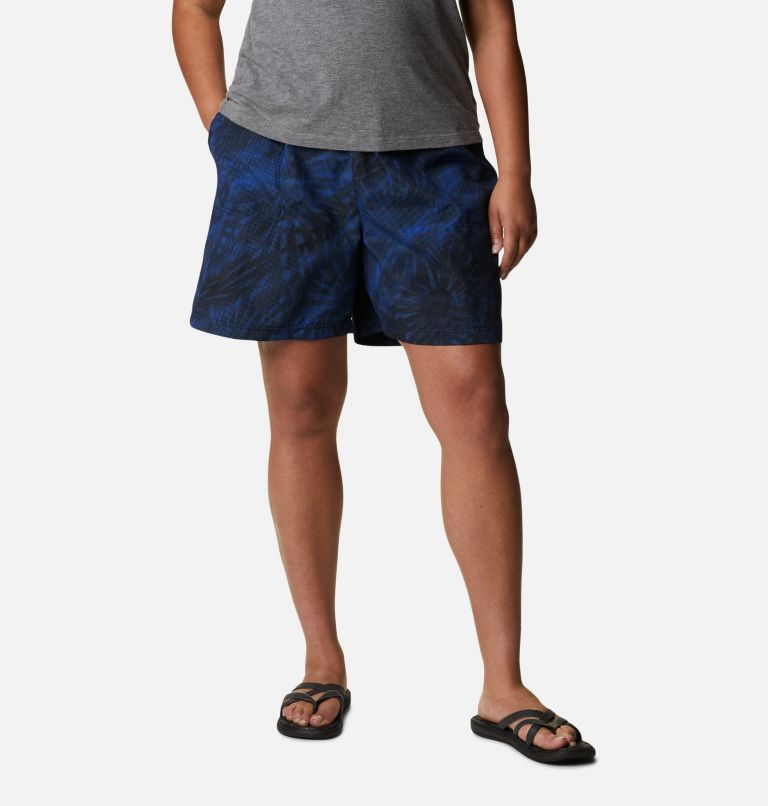 Sandy River™ II Printed Short | 410 | 1X Women's Sandy River™ II Printed Shorts - Plus Size, Lapis Blue Tonal Sunburst Print, front