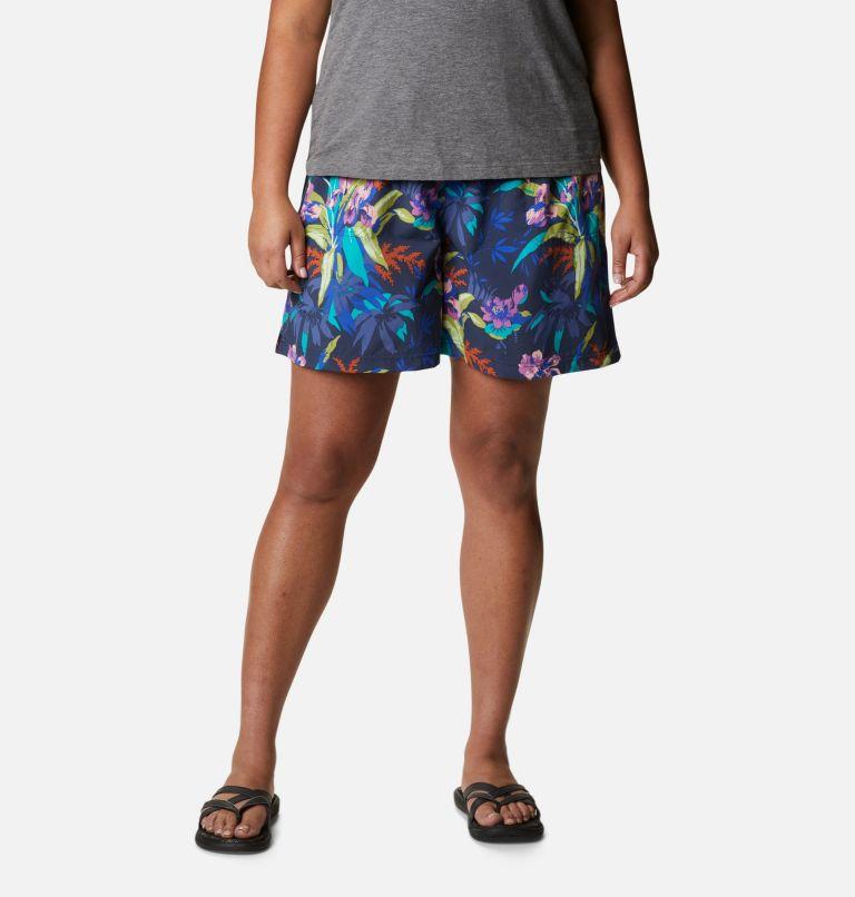 Sandy River™ II Printed Short | 411 | 1X Women's Sandy River™ II Printed Shorts - Plus Size, Lapis Blue, Magnolia Print, front