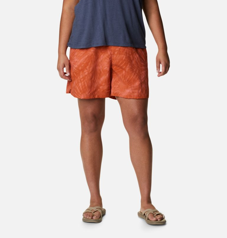 Sandy River™ II Printed Short | 699 | 1X Women's Sandy River™ II Printed Shorts - Plus Size, Salmon Tonal Sunburst Print, front