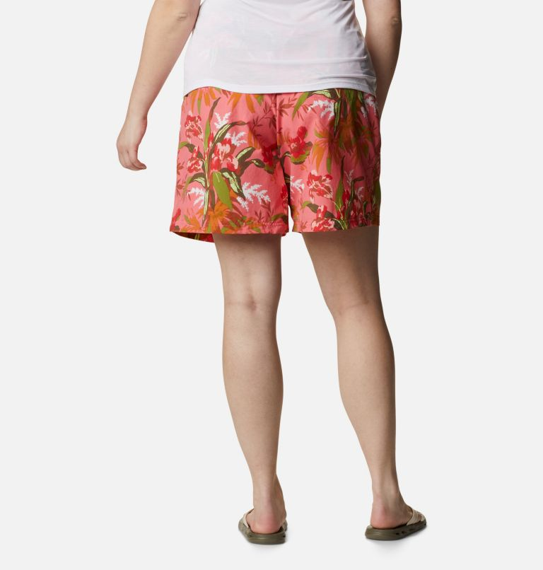Sandy River™ II Printed Short | 701 | 1X Women's Sandy River™ II Printed Shorts - Plus Size, Salmon, Magnolia Print, back