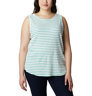 Camisole Longer Days™ pour femme – Grandes tailles Longer Days™ Tank | 870 | 1X, Dark Lime Stripe, front
