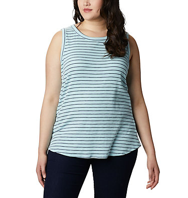 Camisole Longer Days™ pour femme – Grandes tailles Longer Days™ Tank | 870 | 1X, Spring Blue Stripe, front