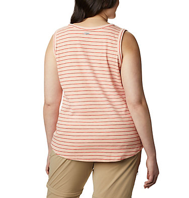 Camisole Longer Days™ pour femme – Grandes tailles Longer Days™ Tank | 870 | 1X, Peach Cloud Stripe, back